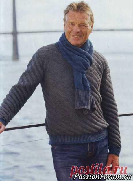Пуловер и шарф с диагональным узором. Описание | Вязание для мужчин спицами. Схемы вязания Размеры:(XXS)XS(S)M(L)XL(XXL)Размеры готового изделия:обхват груди - (87)93(104)109(120)125(136) см, длина - (60)64(66)68(70)72(74) см, длина рукава - (44)48(50)51(52)53(53) см.Вам потребуется:пряжа Sandnes Duo (55% мериносовая шерсть, 45% хлопок, 124 м/50 г) - (400)450(500)550(600)65...