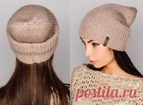 Как связать стильную шапку-бини укороченными рядами (Вязание спицами) – Журнал Вдохновение Рукодельницы