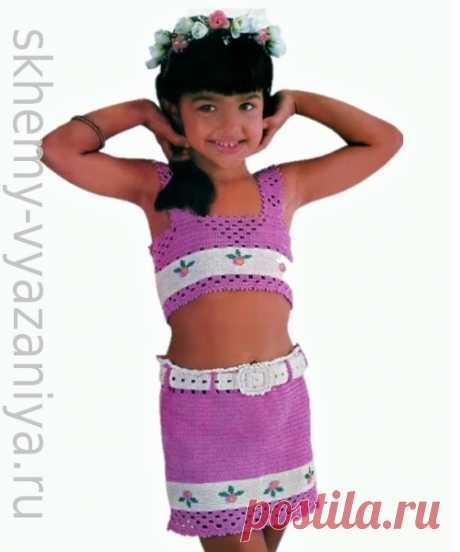 Летний костюм для девочки: юбка и топ на бретелях. Схема вязания крючком и описание.