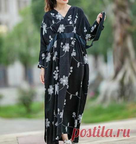 Women long Dress plus size clothes cotton longsleeve dress   Etsy