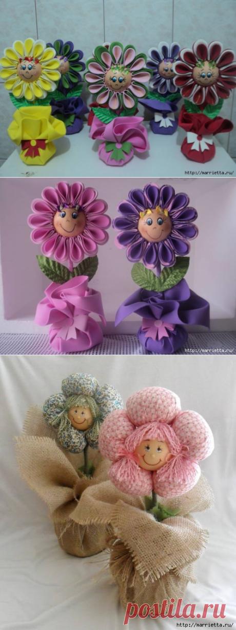 Куколки-цветочки в горшочках