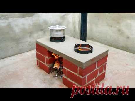 Awesome Dual Burner Smoke Free Bricks Stove Making