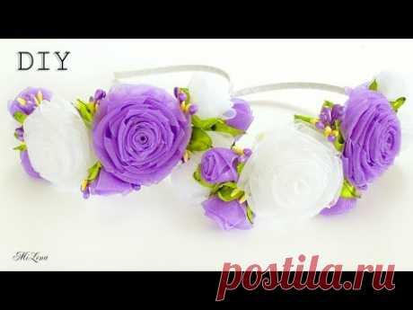 ORGANZA FLOWERS / ОБОДОК С РОЗАМИ, МК / DIY Organza Rose Headband