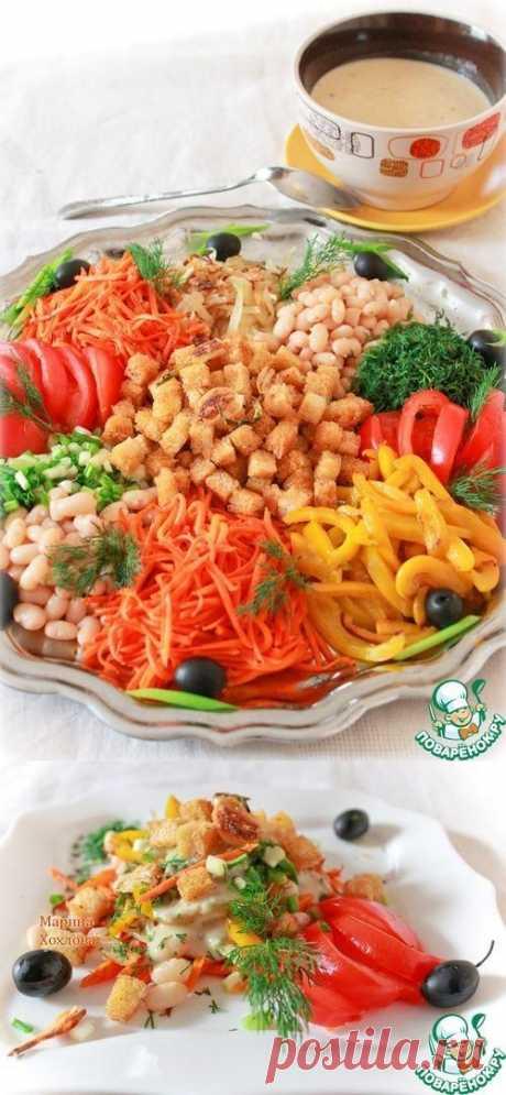 Салат овощной с фасолевым соусом