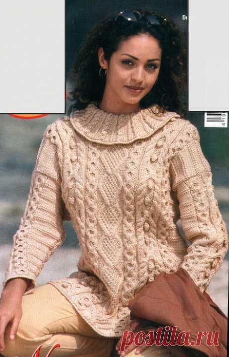 Удлиненный пуловер спицами. Схемы