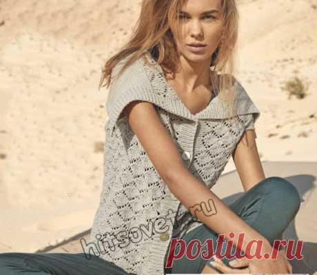 Ажурный жилет спицами для женщин - Хитсовет Вязание спицами бесплатно для женщин модного ажурного жилета со схемами и пошаговым описанием.