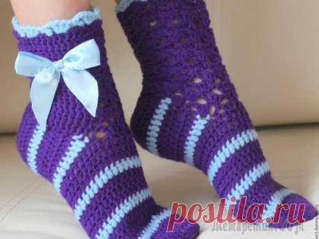 Как связать крючком носки — способы: схемы, описани