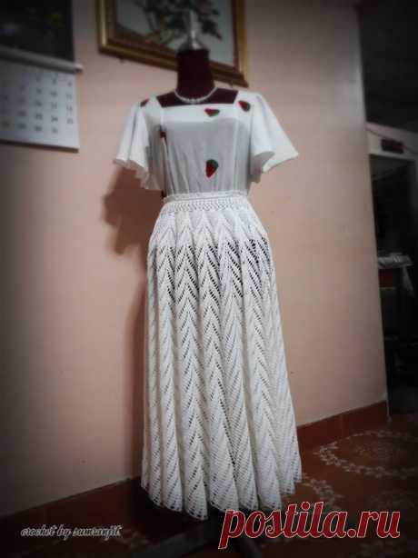 Красивая длинная юбка крючком