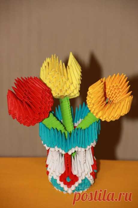 Модульное оригами для начинающих — схемы сборки, ваза, тюльпан пошагово с фото