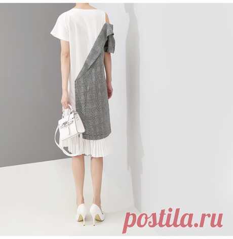 Женское ассиметричное платье, повседневное плиссированное платье средней длины составного кроя на одно плечо, модель 5108 в корейском стиле на лето, 2019-in Платья from Женская одежда on Aliexpress.com   Alibaba Group