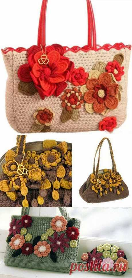 How to Make Bag with Crochet Flowers