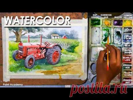 Watercolor Painting : The Farm and the Tractor