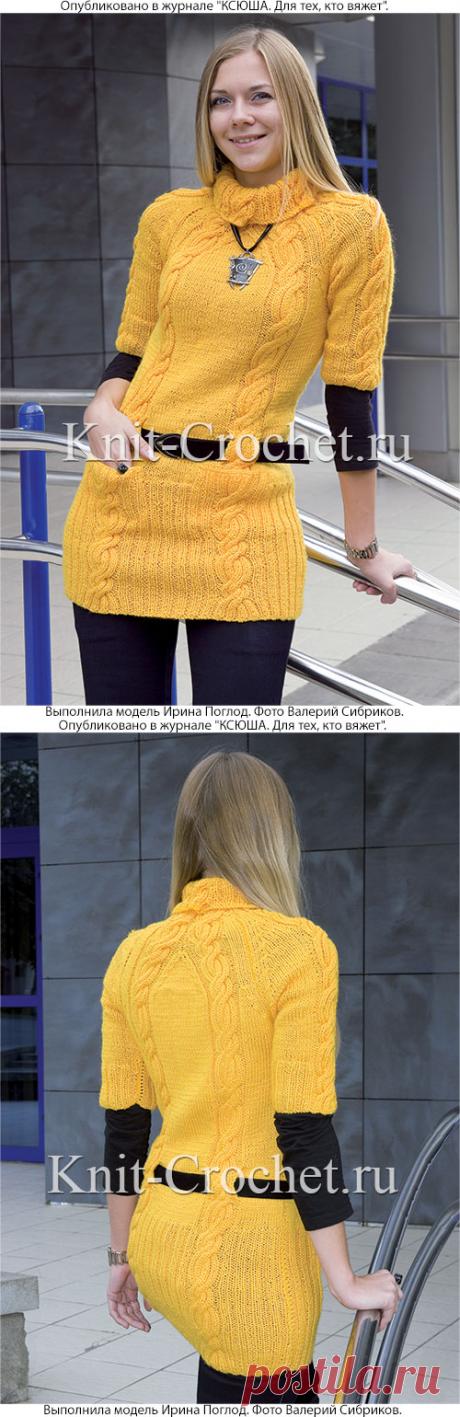 Удлиненный пуловер спицами.