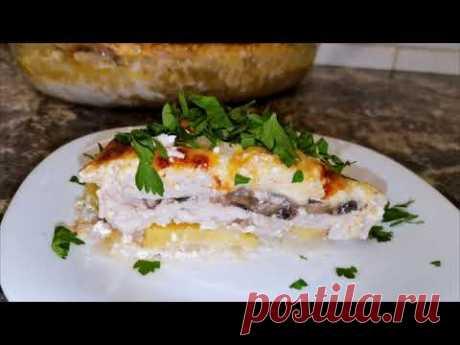 Запеканка из курицы с сыром и грибами - YouTube