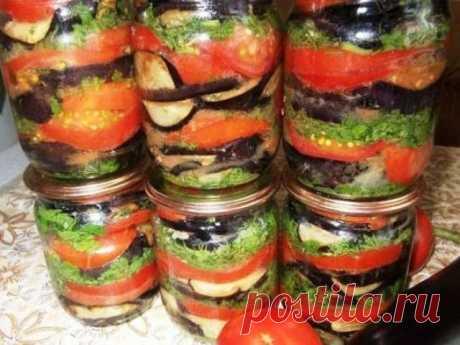Вкуснейшие консервированные баклажаны с помидорами Предлагаю Вашему вниманию баклажаны консервированные с помидорами рецепт, просто пальчики оближешь, отменная закуска, стоит попробовать. Ингредиенты: 3.5