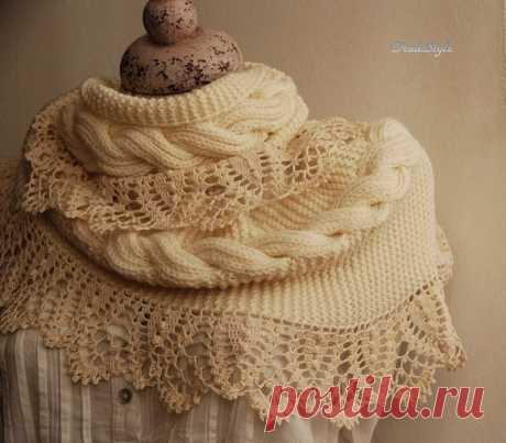 Стильный и женственный шарф — снуд Стефания (Вязание спицами и крючком) | Журнал Вдохновение Рукодельницы