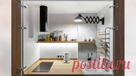 Кухня трансформер в шкафу в маленькой квартире 33 м2   Кухня для счастья   Яндекс Дзен