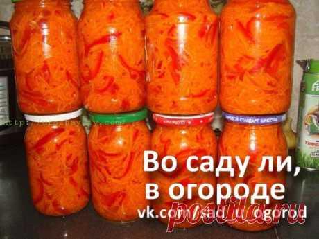 Салат Огонек на зиму.  Нам понадобится: 4 кг моркови, натертой на корейской терке (вес очищенной и натертой моркови), 2 кг перца болгарского, Показать полностью…