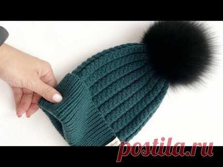 Шапка узором ёлка спицами - YouTube