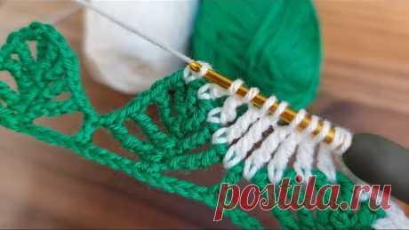 Very easy knitting pine model. Tığ işi kolay örgü çam yaprak modeli