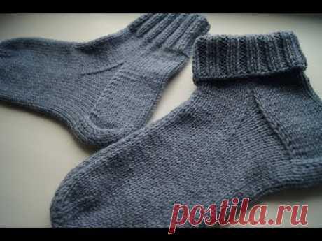 Носки для начинающих на двух спицах. Просто и аккуратно. Размер 42-43