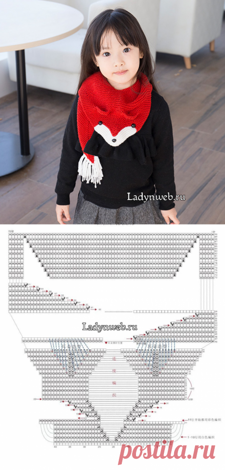 Детский шарф лисичка спицами схема | Ladynweb.ru
