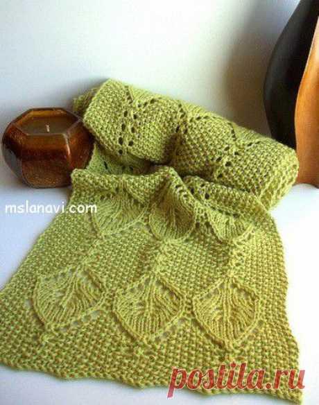 Зеленый ажурный шарф спицами   Вяжем с Ланой