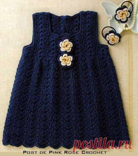 Простое детское платье со схемой (Вязание крючком) | Журнал Вдохновение Рукодельницы