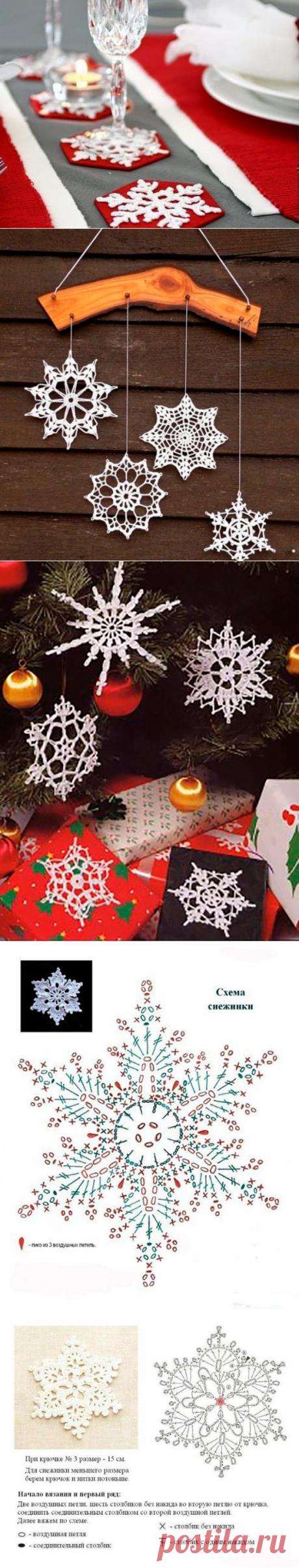 Adornamos la casa con los copos de nieve de Año Nuevo: 58 variantes de la labor de punto por el gancho