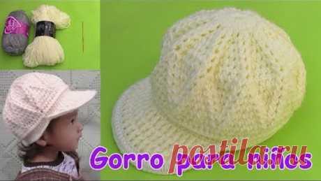 Gorra para niños de 1 a 3 años tejido a crochet paso a paso