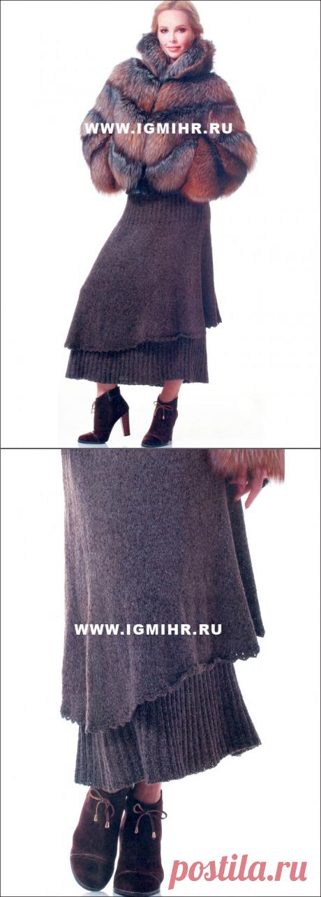 Коричневая юбка, связанная по кругу сверху вниз. Спицы