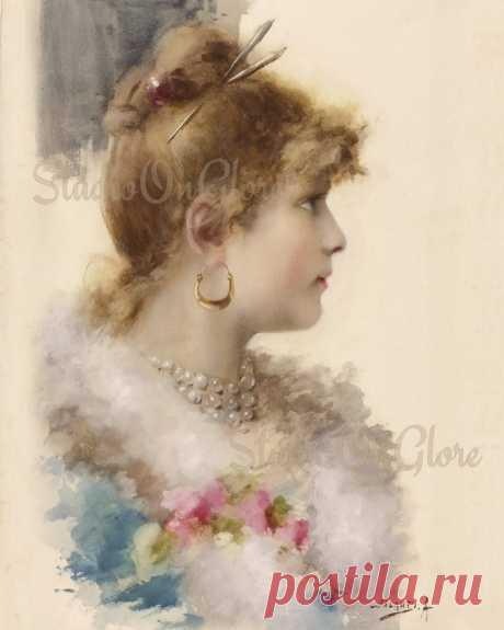 Винтаж 1892 акварельный портрет Викторианской красоты w / Boa / Etsy