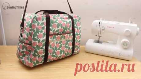 Выкройка большой сумки от Дарьи Санниковой  Эта сумка разрабатывалась для швейной машинке, но основательные размеры позволяют использовать ее как дорожную сумку.  Сумка в готовом виде размера: 48 см на 34 см, глубина 20 см.  В сумке много карманов: 2 на передней стенки, по 1 на боковых стенках и внутри сумки накладные карманы, которые поделены на два и три.