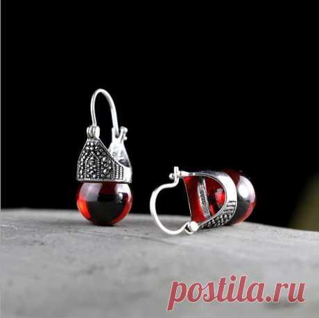 Red garnet ear clip earrings-925 silver ear clip-woman silver | Etsy