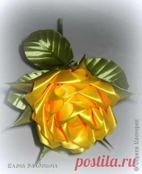 Желтая роза подробный МК