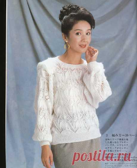 "Белый пуловер. Вязание спицами. ""Ландыши""."
