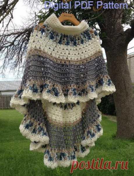 Circular Asymmetric Long Poncho Shawl Crochet от ToppyToppyKnits