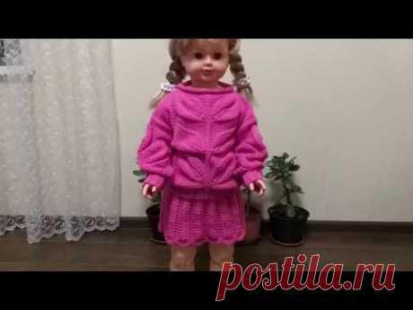 Вязание спицами. Костюмчик для девочки 1.5-2 года ЧАСТЬ  1 С БОЛЬШИМИ ЛИСТЬЯМИ,