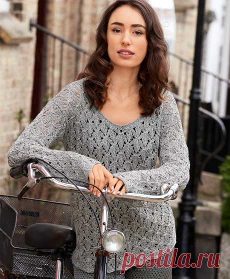 Серебристо-серый пуловер - схема вязания спицами. Вяжем Пуловеры на Verena.ru