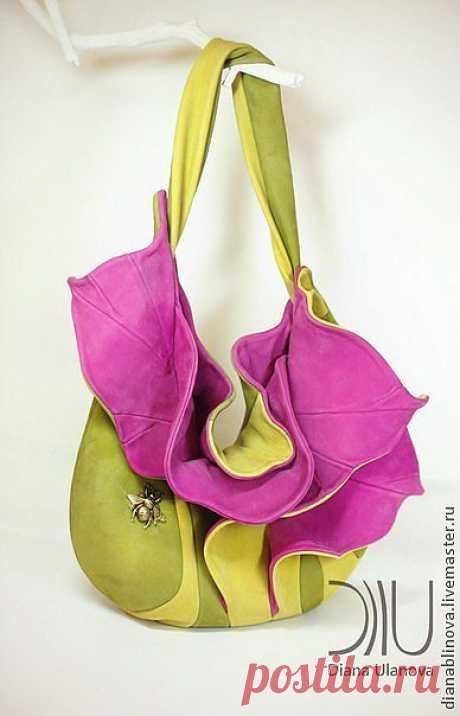 """Сумка кожаная """"Орхидея"""" - коричневый,сумка женская,сумка кожаная,сумка коричневая"""