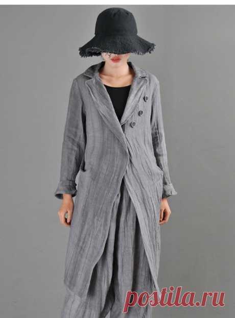 Grey Linen Cardigan-Suit Collar Ladies Top-Retro Cute Linen | Etsy