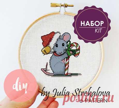 """Набор для вышивки крестом """"Новогодняя мышь"""" авторский e-pattern"""