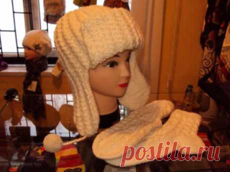 Зимняя шапка-ушанка,ручная работа - artesanum com