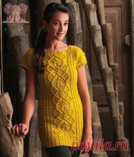 Желтая туника с красивыми узорами (все размеры