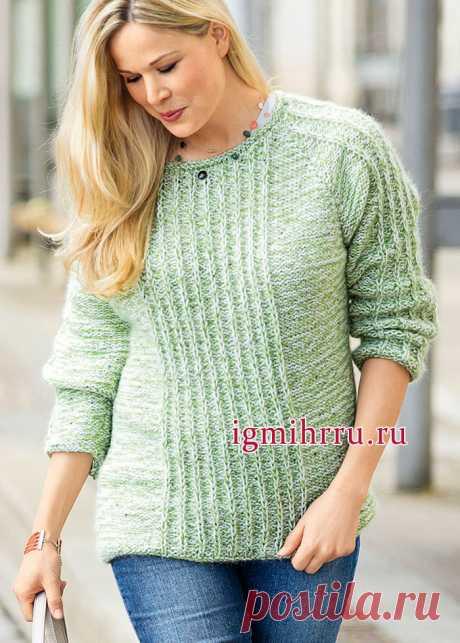 Тёплый меланжевый пуловер с вертикальными рельефными полосами. Спицами. Размеры (российские): 48/50 (52) 54/56 (58). / igmihrru.ru