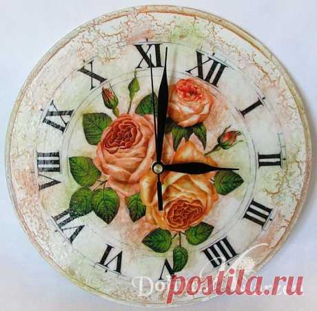 Часы с декупажем ОСЕННЯЯ РОЗА. МК