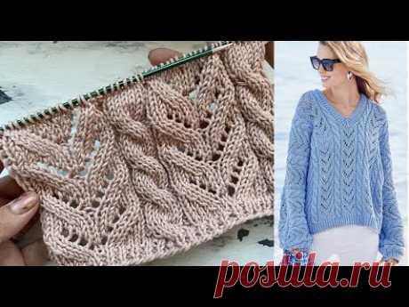 Красивый и простой ажурный узор для вязания нарядных джемперов, кофточек, маек, торов и кардиганов