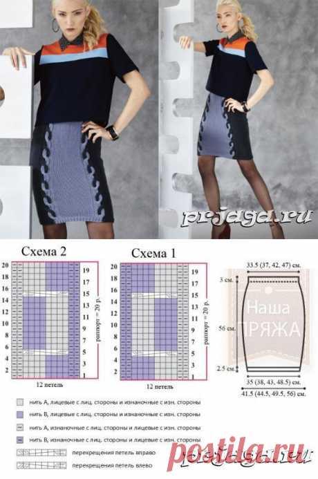 Вязание спицами юбки, схемы двуцветной косы