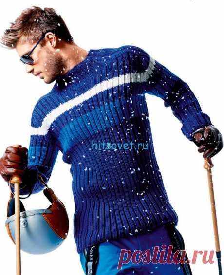 Мужской свитер спицами из шерсти - Хитсовет
