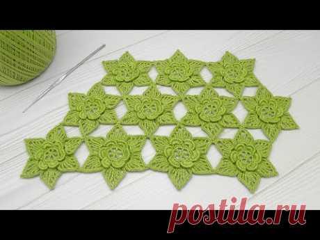 ЦВЕТЫ КРЮЧКОМ мастер-класс ЦВЕТОЧНЫЙ УЗОР  DIY Tutorial Crochet flower  How to join motifs